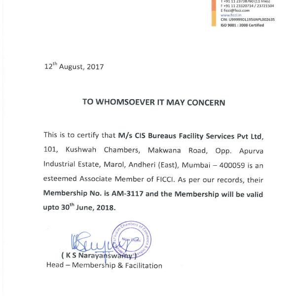 FICCI Membership Certificate
