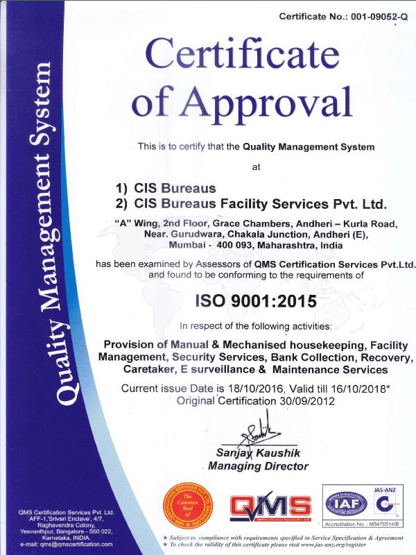 Certification Cisb Cis Bureaus Facility Services Pvt Ltd